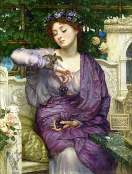 Wall Art - Painting - Lesbia And Her Sparrow by Edward John Poynter