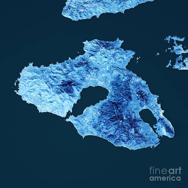 Wall Art - Digital Art - Lesbos Island Topographic Map Blue Color Top View by Frank Ramspott