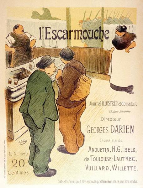 Wall Art - Mixed Media - L'escarmouche - French Restaurant Advertisement Poster by Studio Grafiikka