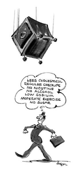 Exercise Drawing - Less Cholesterol Regular Checkups by Lee Lorenz