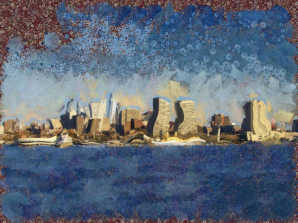Mixed Media - Less Wacky Philly Skyline by Trish Tritz
