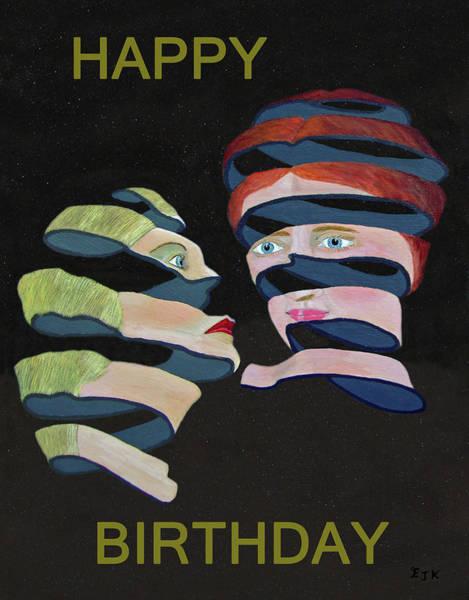 Mixed Media - Lesvos By Night Happy Birthday by Eric Kempson
