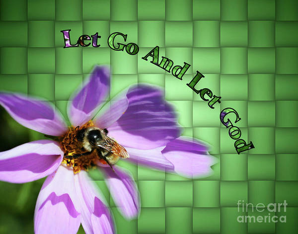 Photograph - Let Go Inspirational Bee On Flower by Smilin Eyes  Treasures