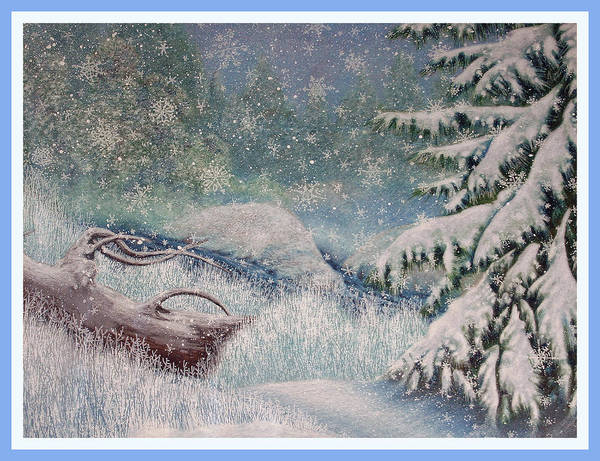 Evergreen Trees Drawing - Let It Snow by Teresa Frazier