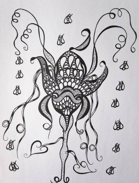 Drawing - Let Me Tell You ....flowers And Bees by Rosita Larsson