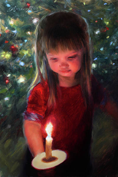 Christmas Tree Painting - Let Peace Begin With Me by Anna Rose Bain