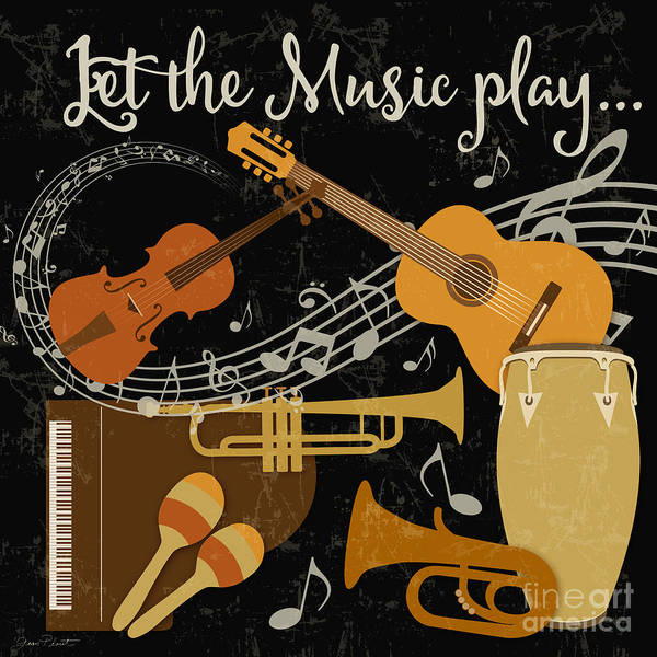 Piano Key Painting - Let The Music Play-jp3512 by Jean Plout
