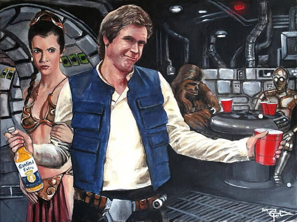 Han Solo Wall Art - Painting - Let The Wookie Win by Tom Carlton