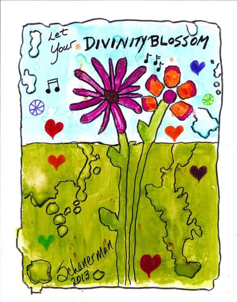 Painting - Let Your Divinity Blossom by Susan Schanerman