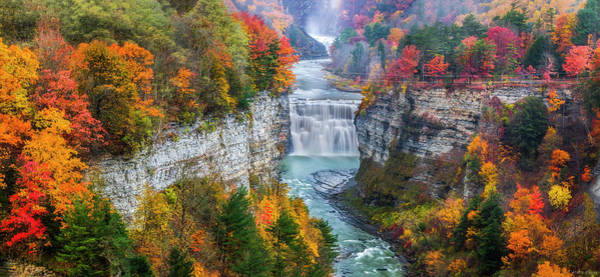 Photograph - Letchworth Middle Falls In Fall by Mark Papke