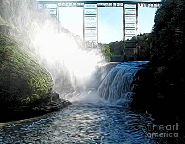 Photograph - Letchworth State Park Upper Falls And Railroad Trestle Abstract by Rose Santuci-Sofranko
