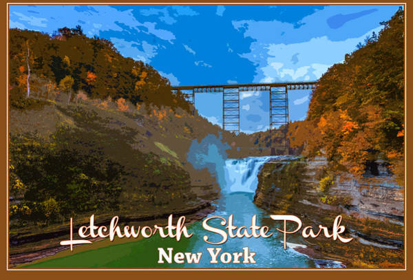 Letchworth Photograph - Letchworth State Park Vintage Travel Poster by Rick Berk