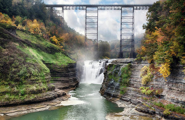 Trestle Photograph - Letchworth Upper Falls by Peter Chilelli