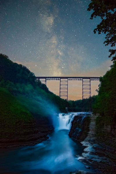 Photograph - Letchworth Upper Falls Under The Milky Way No 2 by Chris Bordeleau