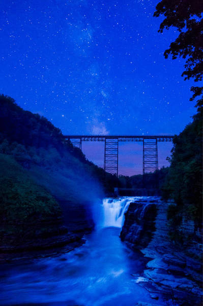 Photograph - Letchworth Upper Falls Under The Milky Way No1 by Chris Bordeleau