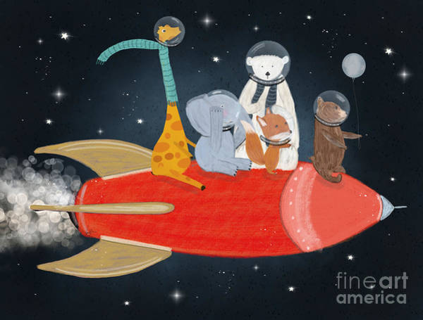 Rockets Wall Art - Painting - Lets All Go To The Moon by Bri Buckley