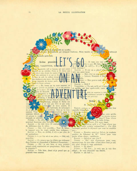 Wall Art - Digital Art - Let's Go On An Adventure, Wanderlust by Madame Memento