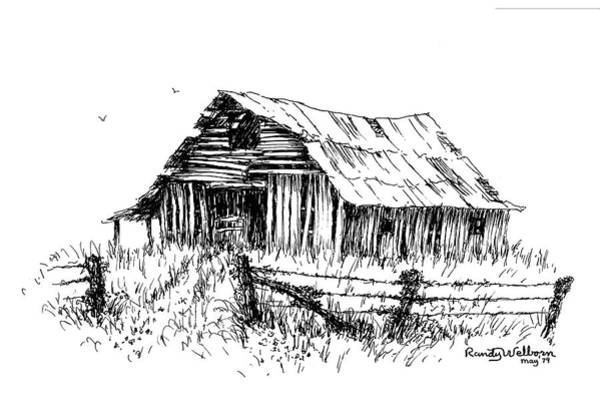 Barn Drawing - Let's Look Inside by Randy Welborn
