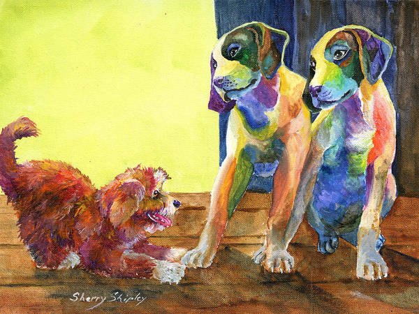 Painting - Let's Play by Sherry Shipley