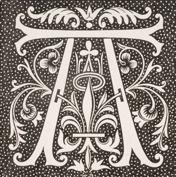 Decorative Drawing - Letter A by French School