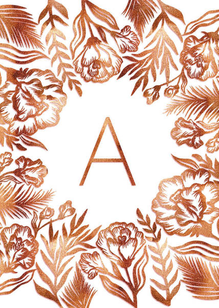 Digital Art - Letter A - Rose Gold Glitter Flowers by Ekaterina
