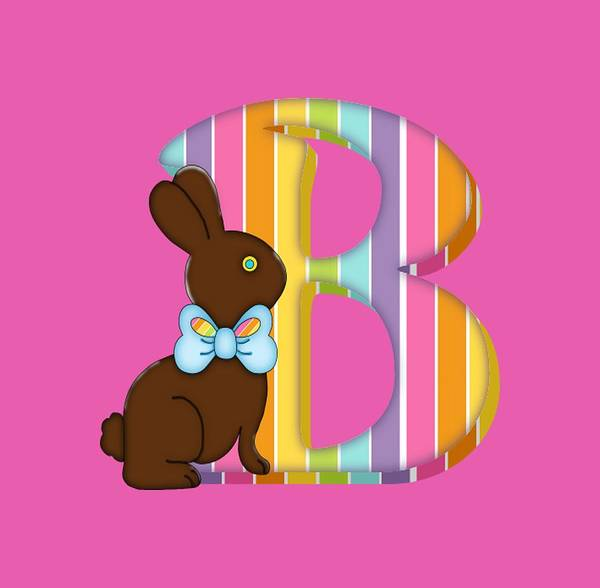 Digital Art - Letter B Chocolate Easter Bunny by Debra Miller