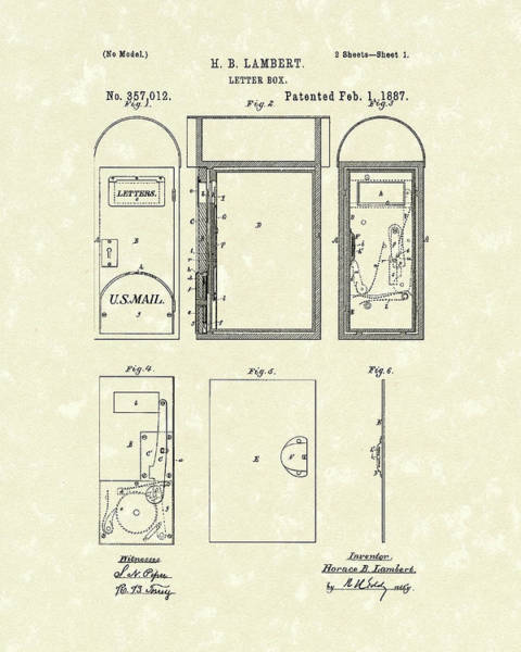Wall Art - Drawing - Letter Box 1887 Patent Art by Prior Art Design
