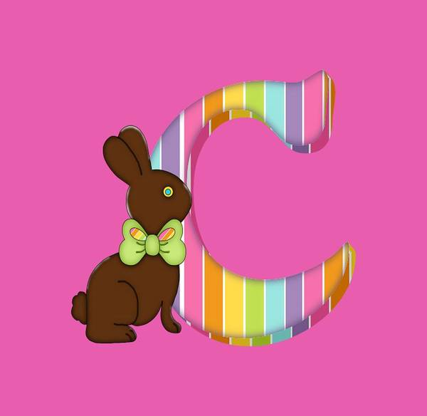 Digital Art - Letter C Chocolate Easter Bunny by Debra Miller