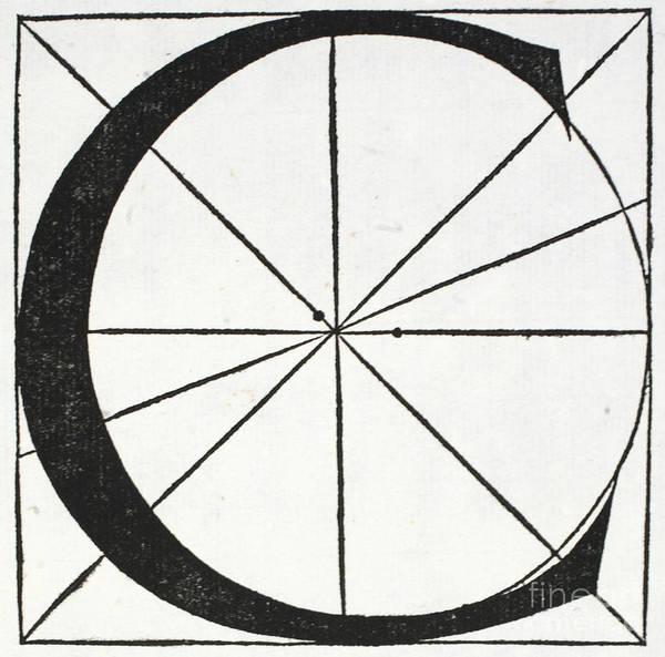 Decorative Drawing - Letter C by Leonardo Da Vinci