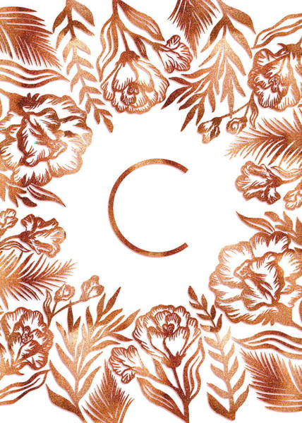 Digital Art - Letter C - Rose Gold Glitter Flowers by Ekaterina Chernova