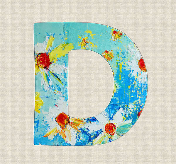 Painting - Letter D Roman Alphabet - A Floral Expression Of Typography Art by Patricia Awapara