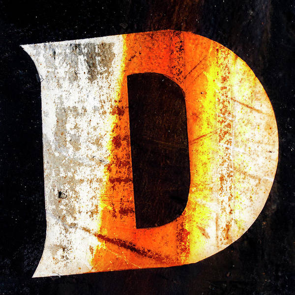 Rusted Wall Art - Photograph - Letter D Squared by Carol Leigh