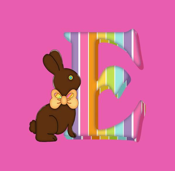 Digital Art - Letter E Chocolate Easter Bunny by Debra Miller