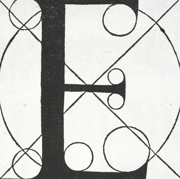 Decorative Drawing - Letter E by Leonardo Da Vinci