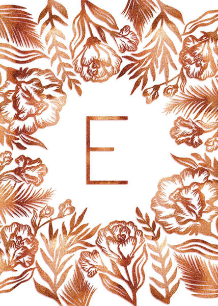 Digital Art - Letter E - Rose Gold Glitter Flowers by Ekaterina Chernova