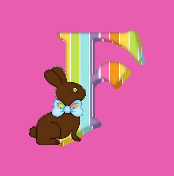 Digital Art - Letter F Chocolate Easter Bunny by Debra Miller