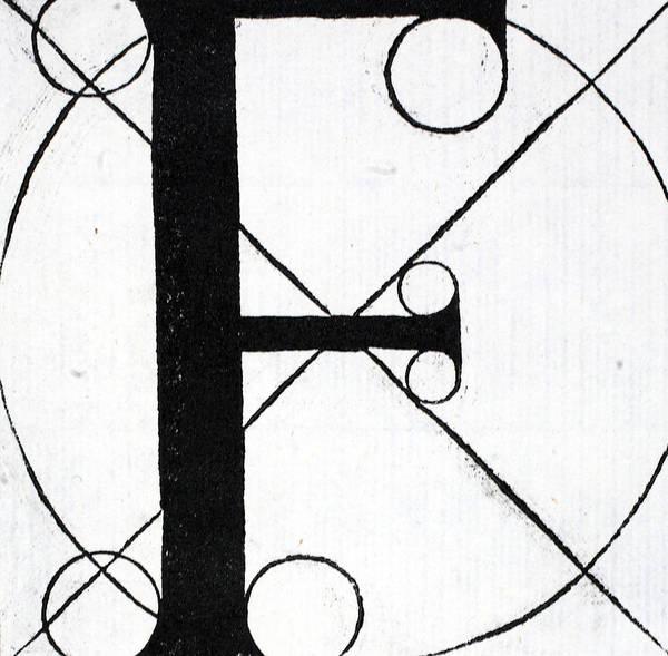 Decorative Drawing - Letter F by Leonardo Da Vinci