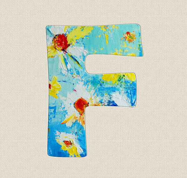 Typo Painting - Letter F Roman Alphabet  - A Floral Expression, Typography Art by Patricia Awapara