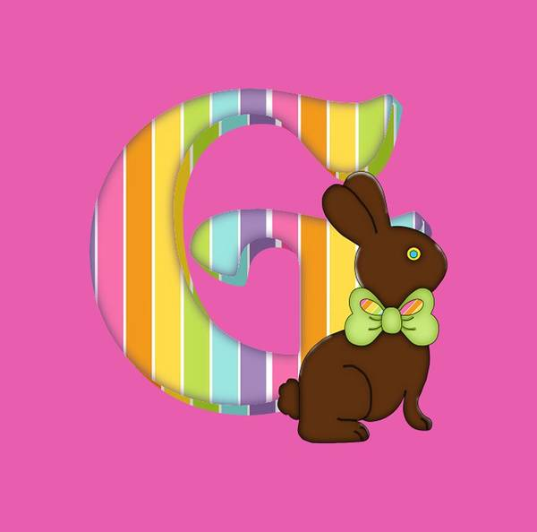 Digital Art - Letter G Chocolate Easter Bunny by Debra Miller