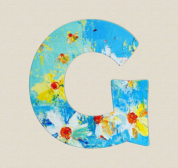 Typo Painting - Letter G Roman Alphabet - A Floral Expression, Typography Art by Patricia Awapara