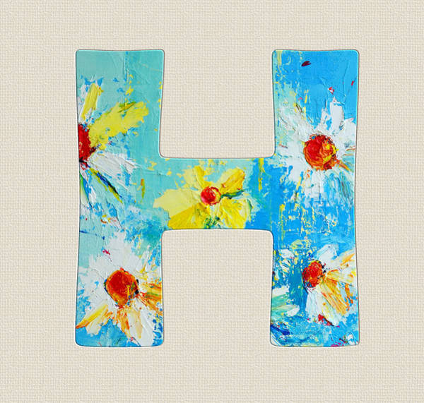 Typo Painting - Letter H Roman Alphabet - A Floral Expression, Typography Art by Patricia Awapara