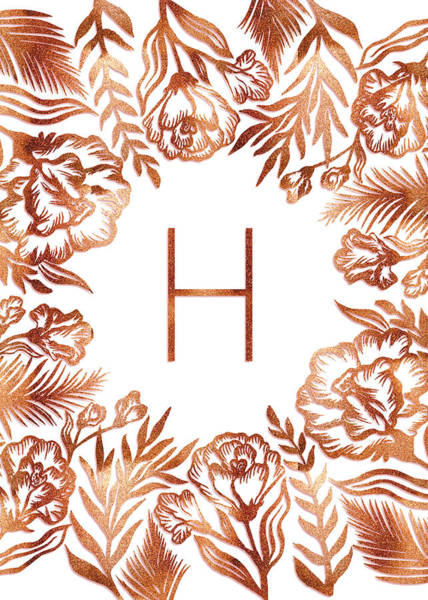 Digital Art - Letter H - Rose Gold Glitter Flowers by Ekaterina Chernova