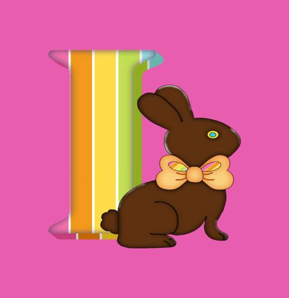 Digital Art - Letter I Chocolate Easter Bunny by Debra Miller