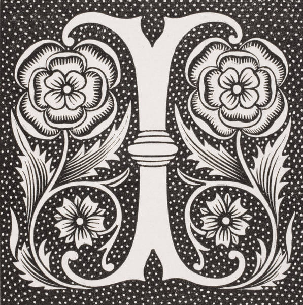 Decorative Drawing - Letter I by French School