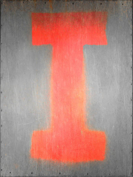 Wall Art - Photograph - Letter I Red On Steel by Julie Niemela