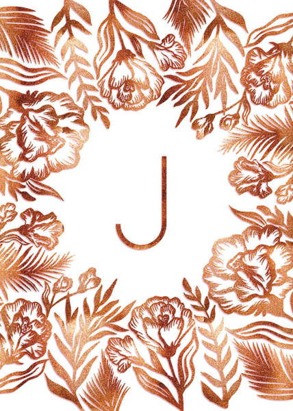 Digital Art - Letter J - Rose Gold Glitter Flowers by Ekaterina Chernova