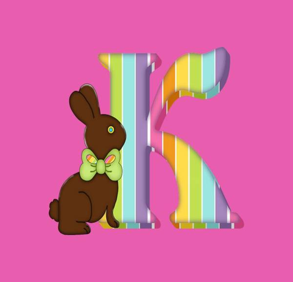Digital Art - Letter K Chocolate Easter Bunny by Debra Miller
