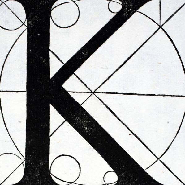 Decorative Drawing - Letter K by Leonardo Da Vinci