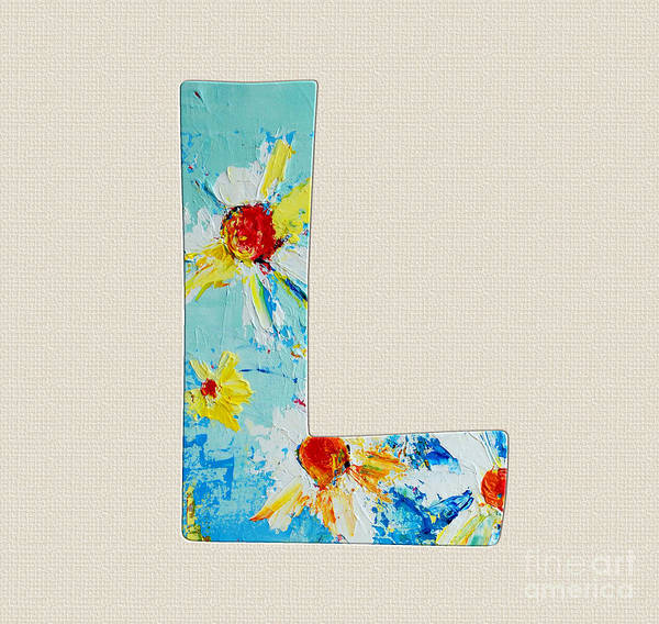 Typo Painting - Letter L Roman Alphabet -  A Floral Expression, Typography Art by Patricia Awapara