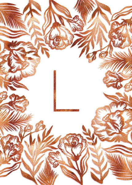Digital Art - Letter L - Rose Gold Glitter Flowers by Ekaterina